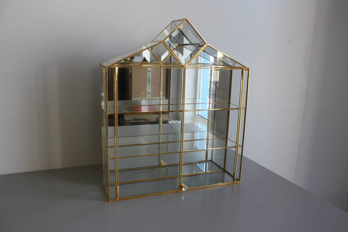 Vitrine Ikea Detolf Occasion ~ Glasvitrine Swarovski Figuren Tür Spiegel gold Setzkasten Glas #6660